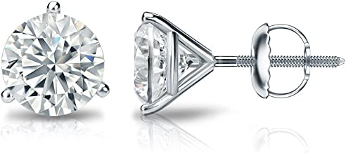 3-Prong Martini Set Screw-Back Diamond Wish 18k Gold Round SINGLE Diamond Stud Earring 0.08cttw, Good, I2-I3