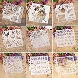 PHILSP 9 Unidades/Set Plantilla de Plantillas de Letras de Navidad Pintura Scrapbooking Estampado en Relieve Tarjeta de álbum DIY
