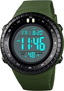 TONSHEN Large Dial Sport Watch for Men and Women 50M Waterproof Outdoor Military LED Electronic Double Time Multifunction Plastic Digital Watches with Rubber Band (Green)