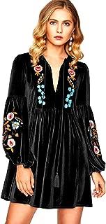 Women's Vintage Floral Embroidered A line Velvet Short Party Dress Plus Size Midi Skirt