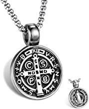 AZFVB St Benedict Exorcism Medal Pendant Necklace Men's Stainless Steel Catholic Roman Cross Demon Protection Ghost Hunter Religion Jewelry
