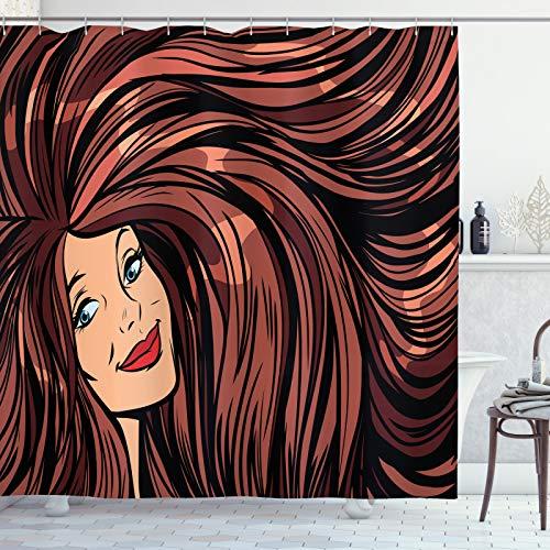 ABAKUHAUS Peluquería Cortina de Baño, Comic Book Inspired, Material Resistente al Agua Durable Estampa Digital, 175 x 240 cm, Multicolor