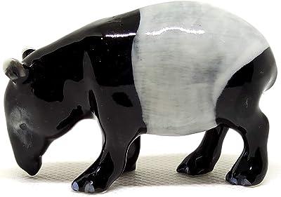 SSJSHOP Malayan Tapir Miniature Figurines Hand Painted Ceramic Animals Collectible Gift Home Decor
