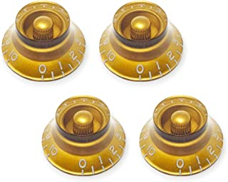 Vintage Forge Gold Top Hat Bell Knobs for Gibson Les Paul Electric Guitar (Set of 4) Fits 24 Fine-Spline USA (Imperial) Split Shaft Pots BK24US-GLD4