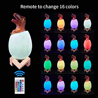 Newest Night Light for Kids, 3D Jurassic Dinosaur Toys Touch LED NightLights Bedside Lamp Remote Pat Touch Control 16 Colors Nursery Light Best Birthday Christmas Gift for Boys Girls Kids