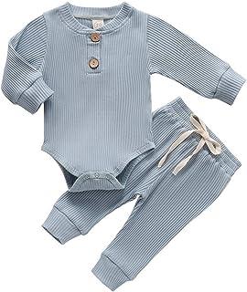 MCVN Nouveau-né bébé garçons Pyjamas à Manches Longues Barboteuse Pantalon Tenues Infantile côtelé rayé Automne Hiver vête...