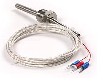 Atoplee 1pc Stainless Steel Waterproof Pt100 Ohm Probe Sensor L 50mm Pt NPT 1/2 inch Thread with Insulation Lead Wire