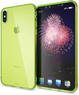 NALIA Silicone Case Compatible with iPhone X XS, Ultra-Thin Clear Silicone Back Cover Shock-Proof See Through Protector, Protective Slim-Fit Gel Bumper, Smart-Phone Skin Grip Etui, Color:Green