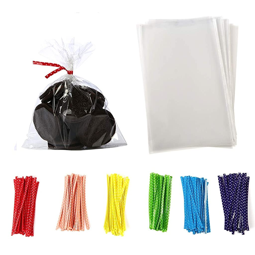 4 in x 6 in Clear Flat Cello Cellophane Treat Bags Good for Bakery,Popcorn,Cookies,Candies,Dessert 1.2mil.Give Metallic Twist Ties!