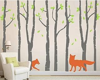 AMAZING WALL DIY Gray Tree and Fox Wall Stickers Baby Nursery,74.8x105.1inch