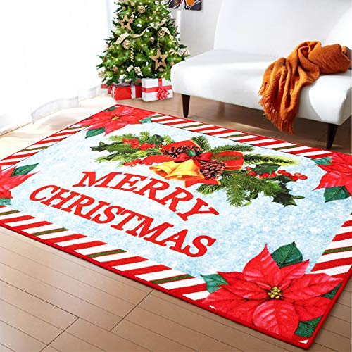 Rostyle Christmas Rugs Poinsettia Flower Christmas Bedroom Rug Non Slip Christmas Doormat Runners Xmas Tree Rug Holiday Decorative Gift for Kids Girls Boys, 3 ft x 5 ft