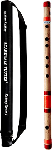 STARDEALS Flutes C Sharp Medium Left Hand Bamboo Flute Bansuri With Free Flute Bag Natural Brown 18 Inch