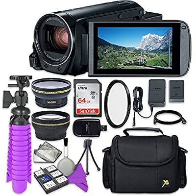 Canon VIXIA HF R80 Camcorder with Sandisk 64 GB SD Memory Card + 2.2X Telephoto Lens + 0.42x Wideangle Lens + Accessory Bundle from Canon