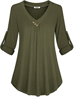 Hibelle Women's Cuffed Long Sleeve V-Neck Casual Tunic Blouse Tops