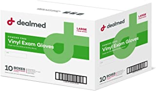 Dealmed Vinyl Exam Gloves, Powder Free, Latex Free, Clear (Available Sizes S, M, L, XL)