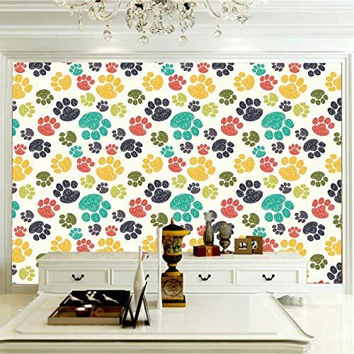 Papel Pintado Pared 3D 350X256Cm Huellas De Oso Animal Amarillo Rojo Habitación Infantil,Papel De Pared Murales Sala De Estar Tv Sofá Dormitorio Estudio Decoración