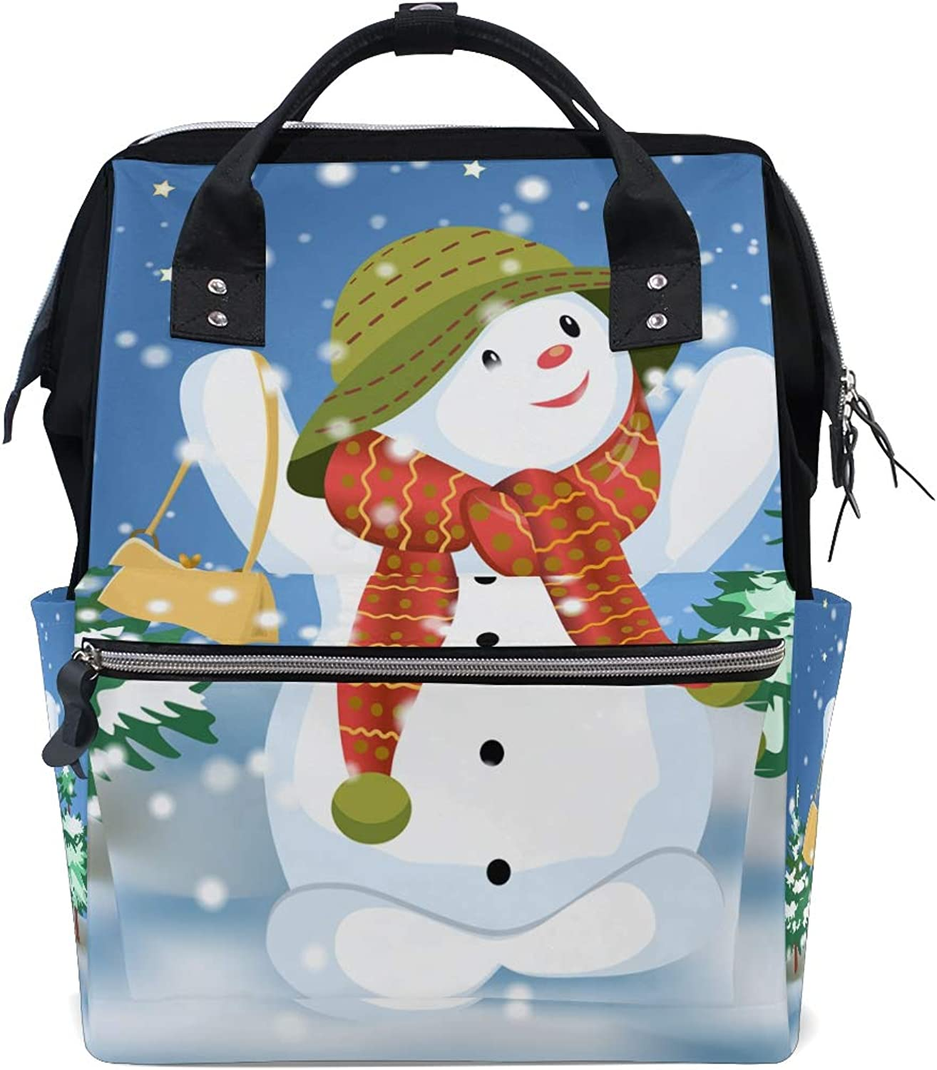 ColourLife Diaper bag Backpack Cute Snowman With Bag Tote Bag Casual Daypack Multifunctional Nappy Bags