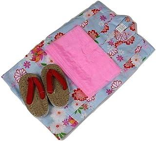 浴衣セット 女の子 ゆかた(絞桜?風車)水色(紅梅織り) 3点セット KWG-4 100/110/120cm