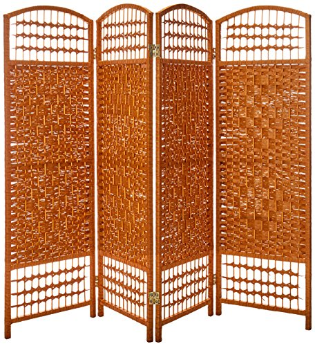 Oriental Furniture 4 ft. Tall Fiber Weave Room Divider - Light Beige - 4...