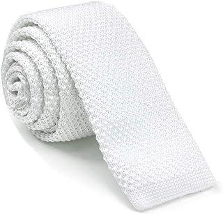 TOPTIE Men's Knit Solid Skinny Tie Polyester Square End 2 Inch Necktie Tie