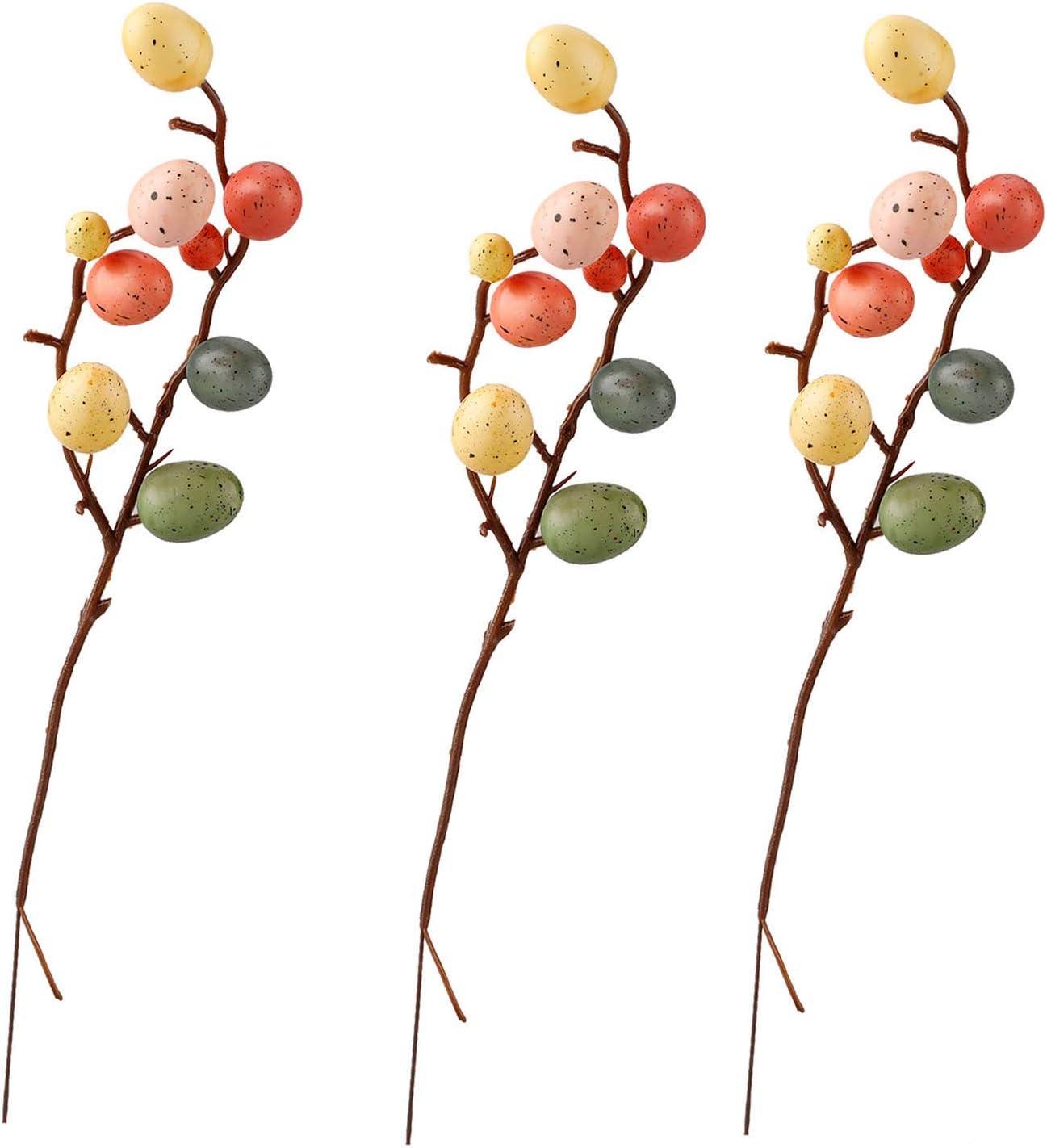 ZHISHENG Lot de 10 branches d/œufs de P/âques artificielles pour d/écoration int/érieure et ext/érieure