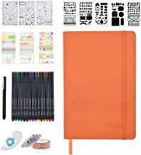 Bullet Dotted Journal Kit, Feela A5 Dotted Grid Journal Set with 192 Pages Orange Notebook, Fineliner Pens,Reusable Stencils,Sticker Sheet,Washi&Glue Tape,Black BallPen for Diary Schedule Plan Draw