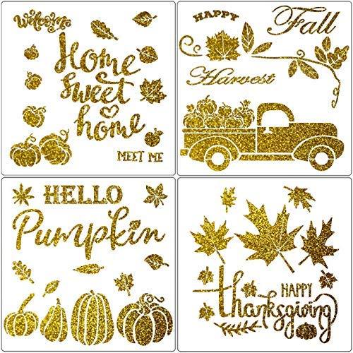 4 plantillas de pintura de otoño – 10 pulgadas otoño calabaza camión /hoja de arce/otoño cosecha plantillas temáticas para decoración de Acción de Gracias DIY tela lona pared signos de madera