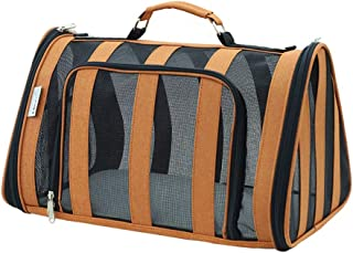 Striped Pet Carrier for Cat and Puppy, Portable Travel Bag Airline Approved, Top Loading, Sturdy Bottom, Adjustable Should...