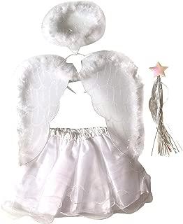4PCS Angel Costumes Headband Wing Wand Tutu Skirt Set Girls Fairy Dress Outfit Halloween White