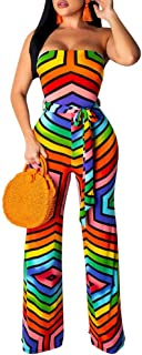 Sexy Wide Leg Pants Suit for Women - Off The Shoulder Print Party Jumpsuit with Belt