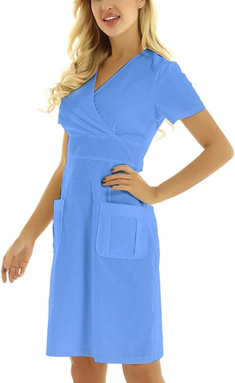 Womens V-Neck Short Sleeve Scrub_Dresses Solid Color Working Uniform Pocket Nurse_Dresses Workwear Tunic