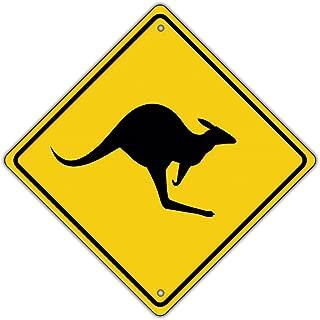 Kangaroo with Graphic Symbol Crossing Animal Metal Aluminum Novelty Road Sign
