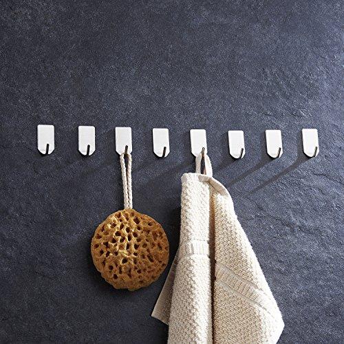 Ruicer Selbstklebend Kleiderhaken Handtuchhaken Wandhaken Ohne Bohren für Bad und Küche Gebürstetes Edelstahl 8 STÜCK, - 3