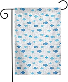 Mannwarehouse Fish Garden Flag Fish Net with Polka Dots Abstract Animal Silhouettes Nature Inspired Image Decorative Flags for Garden Yard Lawn W12 x L18 Blue Pale Blue White