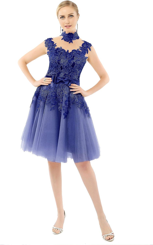 Huifany Short High Neck Party Homecoming Dress Lace Bridesmaid Dresses