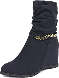Women's Coline Casual Low Wedge Boots Side Zipper Ankle Booties Shoes