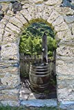 ExklusiveFolien 3D Wandsticker XXL Garten Brunnen selbstklebendes Wandbild deko Optik Ausblick Sticker 60 x 90