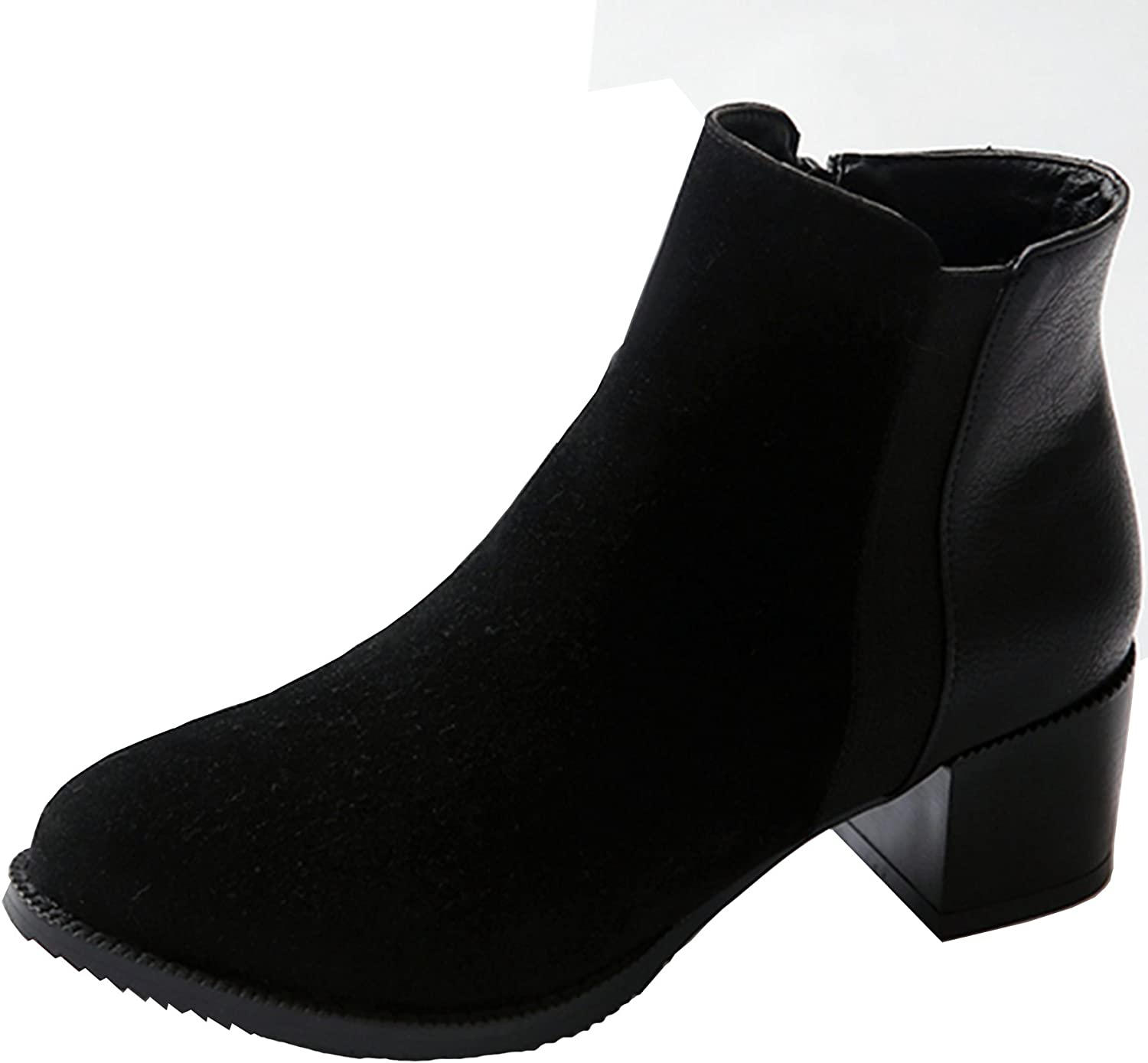 KingRover Women's Mid Heel Closed Toe Casual Ankle Bootie