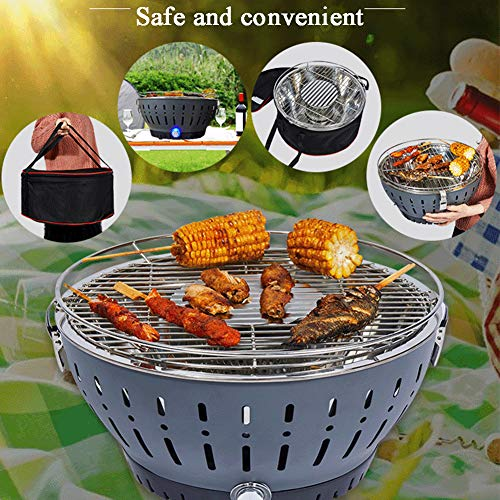 ZXS At Barbecue Charcoal Barbecue With Ventilation Power To Smokeless Charcoal Grill for Outdoor Garden Camping and Picnic Round Anthracite