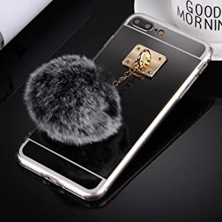 QFH For iPhone 8 Plus & 7 Plus Electroplating Mirror TPU Protective Cover Case with Furry Ball Chain Pendant(Black) new style phone case (Color : Black)