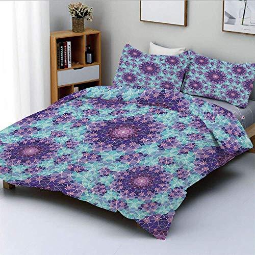 Set copripiumino, mosaico geometrico frattale segno etnico dell'universo Arte grafica Set di biancheria da letto decorativo in 3 pezzi con 2 fodere per cuscini, celeste verde acqua mauve lilla, miglio