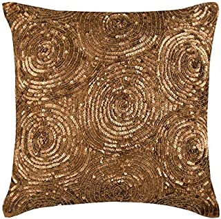 Designer 55x55 cm Taies D'Oreiller Décoratif, Or Des Coussins Couvrent Pour Canapé, Spirale Paillettes Couverture D'Oreill...