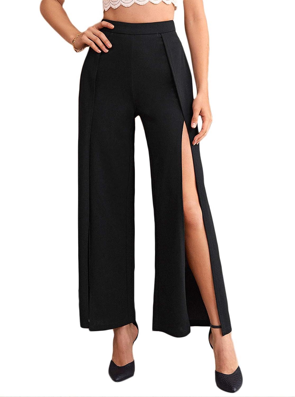 Verdusa Women's Split Thigh High Waist Zip Up Wrap Flare Leg Long Pants