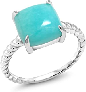 925 Sterling Silver Square Cabochon Sleeping Beauty Green Turquoise Women's Ring (Available 5,6,7,8,9)