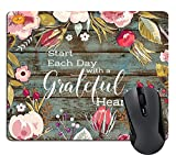 Wknoon Inspirational Quotes Rectangle Mouse Pad, Start Each Day with A Grateful Heart Vintage Floral Rustic Old Wood Art Mouse Pads Mat