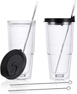 2 Pack Insulated Tumblers 24oz, Double-walled Tumblers, Insulated Plastic Cups with Black Lid, Large Capacity for Hot and Cold Drinks