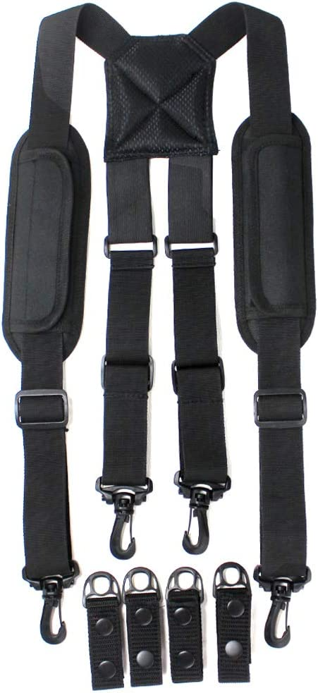 Police Suspender with Padded Shoulder Partial Elastic at Back loading more weight come with 4 pieces duty belt keeper