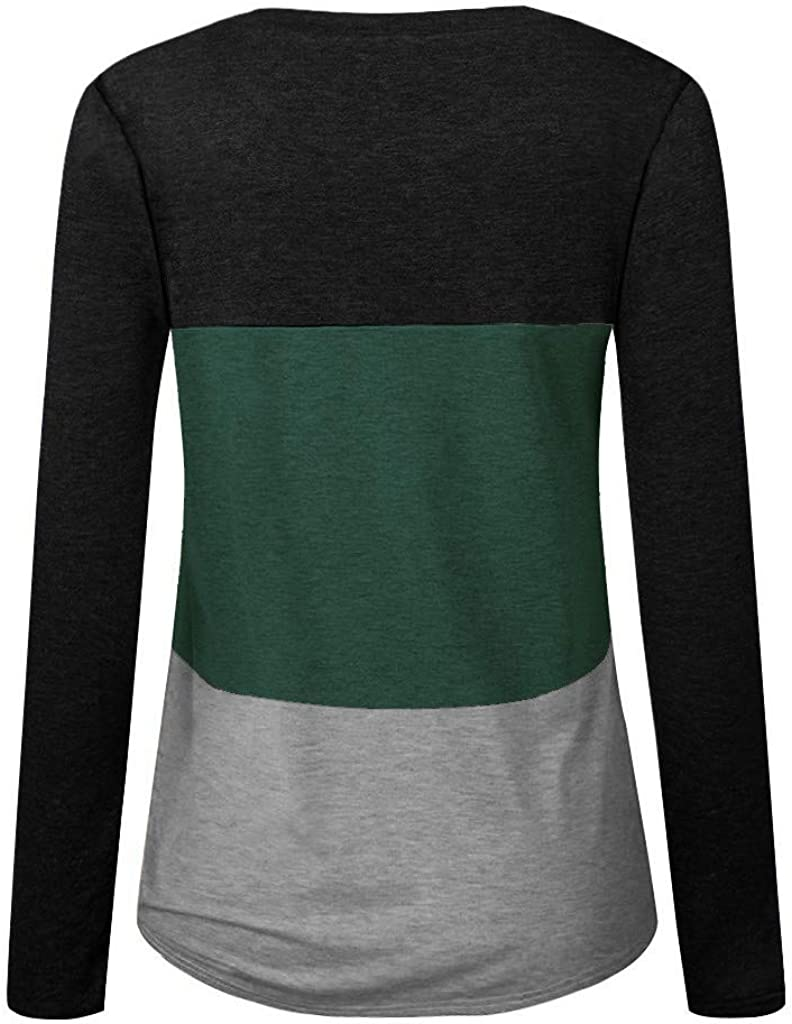 Womens Color Block Patchwork Criss Cross Front V-Neck Tunic Tops Casual Long Sleeve Shirts Loose Long Sleeve Blouse Tops