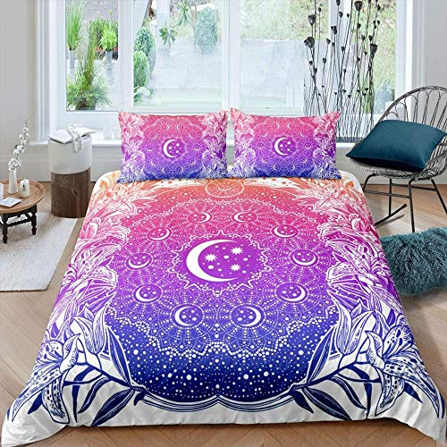 DUVETWEI Kids Duvet Cover with 2 Pillowcases,Print Bedding Set with Zipper Closure,Boys Children Quilt Cover (1 Duvet Cover 230x220 cm /2 Pillow Cases 50x75 cm)Beautiful purple galaxy outer space lan