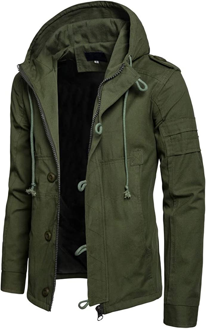 Men's Military Now free Manufacturer regenerated product shipping hooded Jacket Two Cotton Pocket